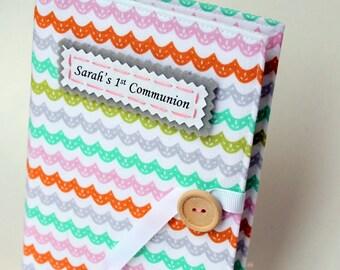 first communion gift personalized brag book photo album pastel multicolor wave