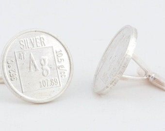 Periodic Table Ag Sterling Silver Cufflinks - Geek Nerd Cuff Links