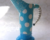 Blue Birds Ceramic Pitcher -or- vase bright polka dots & Beetlejuice striped handle