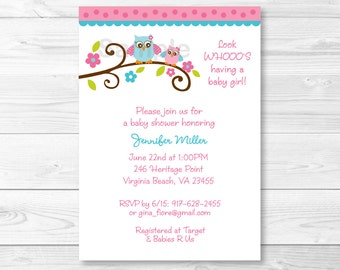 Pink Owl Baby Shower Invitation / Girl Owl / PRINTABLE