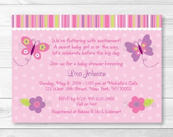 Cute Pink Butterfly Baby Shower Invitation / Butterfly Baby Shower Invite / Butterfly Baby Shower / Pink & Purple / Baby Girl / PRINTABLE