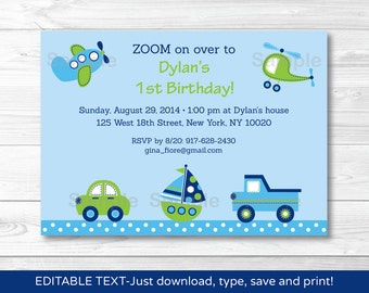 Transportation Vehicles Car Truck Sailboat Airplane Helicopter Birthday Invitation INSTANT DOWNLOAD Editable PDF
