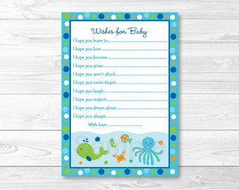 Under the Sea Wishes for Baby Advice Cards Printable INSTANT DOWNLOAD