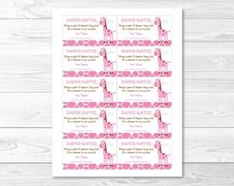Cute Pink Giraffe Diaper Raffle Tickets / Giraffe Baby Shower / Pink & Brown / Baby Shower Raffle / Baby Girl Shower / INSTANT DOWNLOAD