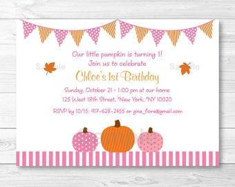 Pink Pumpkin Birthday Invitation / Fall Pumpkin INSTANT DOWNLOAD Editable PDF