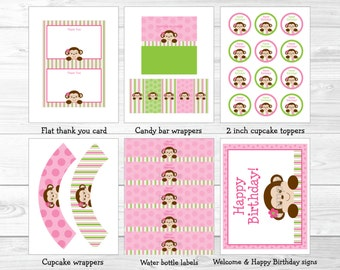 Pink Monkey Birthday Party Package / Monkey Birthday / Girl Monkey Birthday / Monkey Birthday Decorations / Pink & Green INSTANT DOWNLOAD
