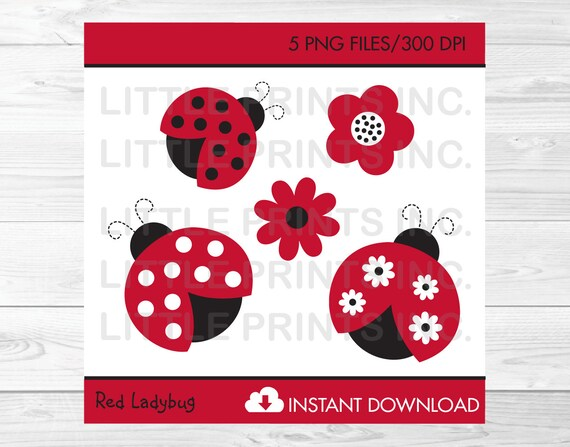 Ladybug Clipart Ladybug Garden Clip Art PERSONAL USE Instant Download