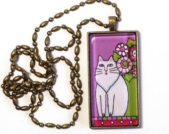Cat Lady Jewelry SALE / Longhair White Cat Glass Pendant in Lavender by Susan Faye