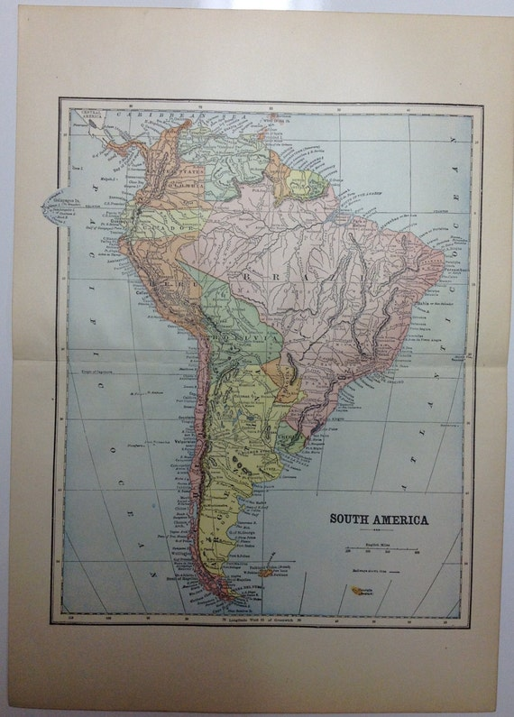 Phenomenal 1897 South America Continent Map