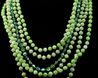 Bead Necklace - Mixed Crystal and Bead Multistrand Green Bead and Crystal Necklace Adjustable Vintage