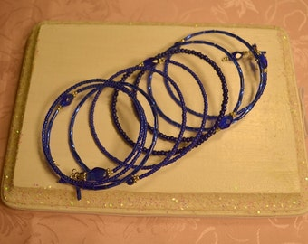Rich Navy Blue Glass Bead Memory Wire Bracelet
