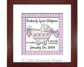 Birth Announcement Print - Baby Carriage Design