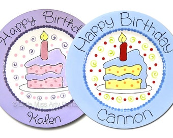 11 inch Personalized Birthday Plate - Piece of Cake Design