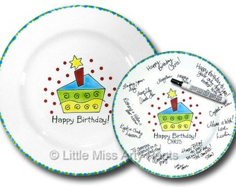 11 inch Ready to Ship - Hand Painted Signature Birthday Plate - Funky Cake Design