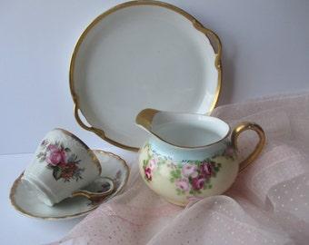 Vintage Nippon Crown Rosenthal Floral Tea Party Set of Four