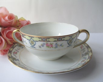 Vintage Noritake Nippon Floral Cream Soup Cup and Saucer