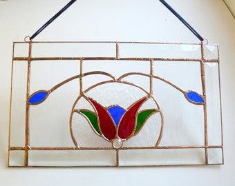 Stained Glass Small Clear Rectangular Panel with Red Tulip