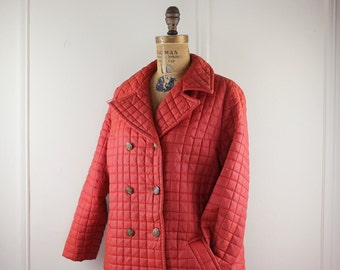 vintage 1970s Orange Rust Quilted Pea Coat - size extra large