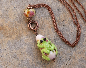 Gorgeous Copper and SRA Lampwork DeSIGNeR Frog Necklace Pendant Claude Monet Style Lily Pond Garden