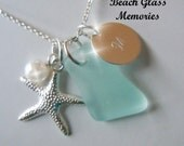 Sea Glass Jewelry Personalized Seaglass  Pendant Necklace,  Monogrammed Initial Aqua Beach Glass Necklace Strand Necklace