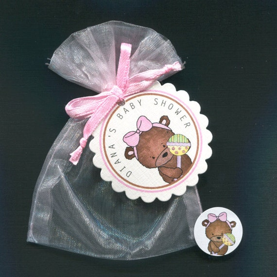 personalized baby girl baby shower favor candy bags teddy pink bow