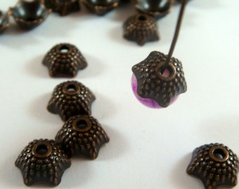 30 Antique Copper Domed Flower Bead Caps 8x4mm LF/NF/CF - 30 pc - F4153BC-AC30