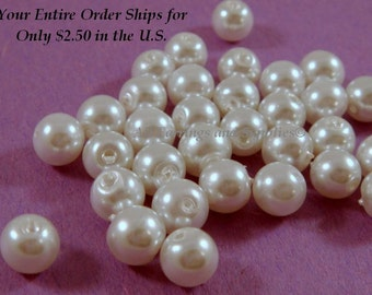 74 White Glass Pearl 6mm - 14 inch - 5858