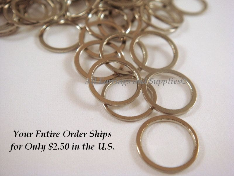 100 Platinum Color Brass Linking Rings 8mm 5mm Thick 100 Pc