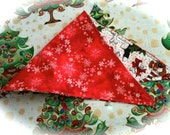 Snowflakes and Pups in Stockings Reversible Bandana Ex. Small