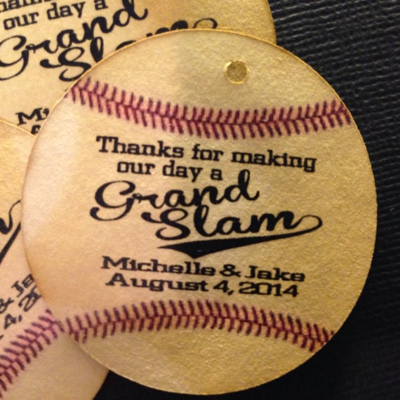 Grand Slam Baseball  Circle shape Personalize Favor Tags Wedding Favor Tag choose your amount
