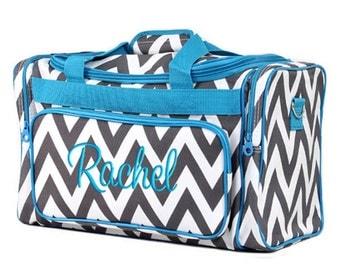 Personalized Duffle Bag Chevron Gray Aqua Blue Ballet Dance Travel