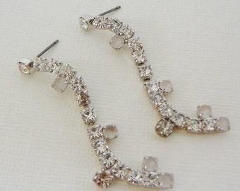 Vintage .. Rhinestone Earrings, Czech, Long Dangle, Clear, Clear AB, pierced, vintage bride