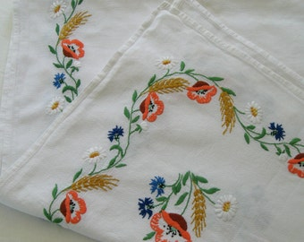 Field Flowers Tablecloth . Harvest Tablecloth . German folk Tablecloth . german field flower tablecloth . embroidered field flowers