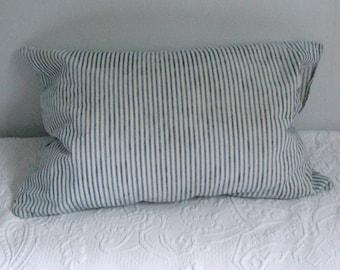 ticking pillow . Antique Ticking Pillowcase . Vintage Bedding . ticking pillowcase