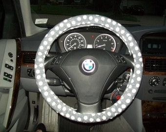 Grey And White Polka Dot Steering Wheel Cover