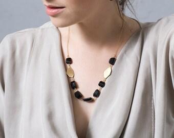 SALE 50% OFF Gold Onyx Necklace , Chunky Gemstone Necklace