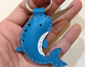 Leather Keychain -  Aaron the Narwhal leather charm ( Blue )