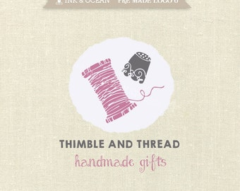 Boutique premade logo design for your business - Thimble and thread, sewing, crafts logo