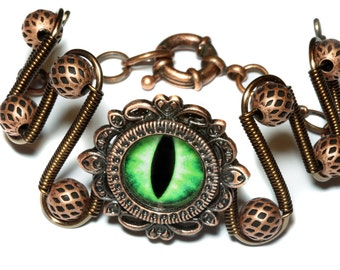 DragonPunk Jewelry - Bracelet - Green dragon eye
