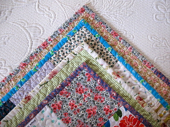 SALE - - baby girl farmhouse quilt, lap quilt,  - echo quilt no. 22  -  Ready to Ship