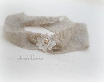 Medea - Gold Beige Taupe Headband -  Vintage Style - Cream Flower Pearl - Girls Newborns Baby Infant Adults
