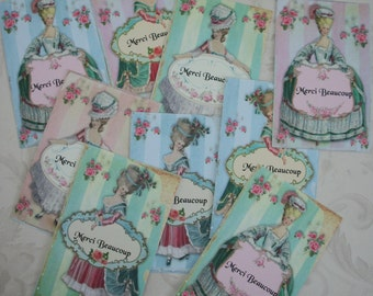 MARIE ANTOINETTE - Merci Beaucoup -18 gift tags - bridal shower favors - Shabby Chic - MAT 878