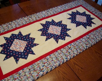 PATRIOTIC STARS Bold and Modern Table Runner from Quilts by Elena Wall Hanging