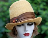 Womens 1960's 1970's Mod Vintage Style Cloche Trendy Fedora Hat  Golden Mustard  Brown Feathers