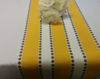 """YELLOW STRIPE LINENS- table runner  11"""", napkins, or placemats, Corn Yellow with taupe-brown dots, Yellow and White Striped Table Runner"""