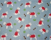 2328 - Cath Kidston Stanley Dog (Pastel Blue) Cotton Canvas Fabric - 57 Inch (Width) x 1/2 Yard (Length)