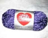 Red Heart Reflective yarn, PURPLE bulky weight yarn, glow in the dark