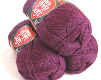 Red Heart Soft GRAPE yarn,  medium worsted weight yarn, a medium purple yarn