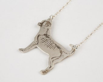 Chihuahua Necklace - Dog Necklace - Chihuahua Jewelry - Dog Skeleton - Silver Dog Jewelry - Dog Charm - Rescue Dog -