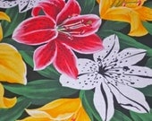 Stargazer Lilies Fabric Piece Vintage Fabric Red White Yellow Lilies